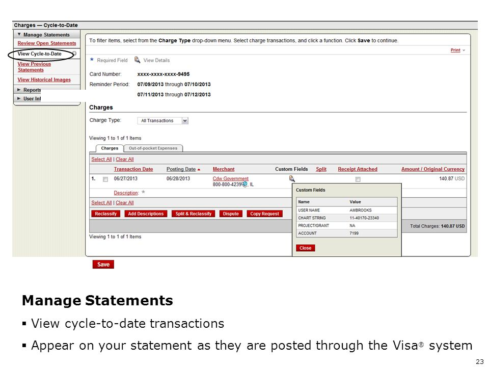 Manage Statements View cycle-to-date transactions