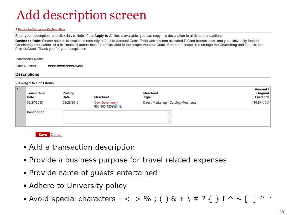 Add description screen
