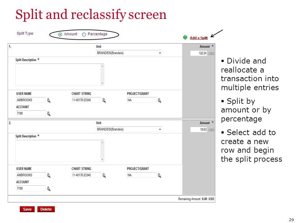 Split and reclassify screen