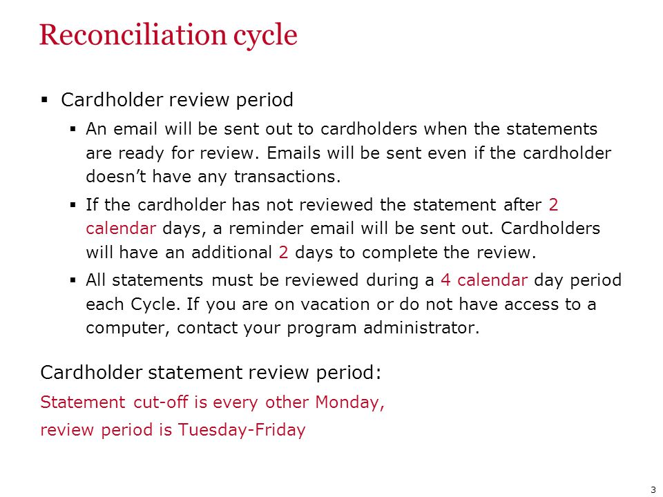 Reconciliation cycle Cardholder review period