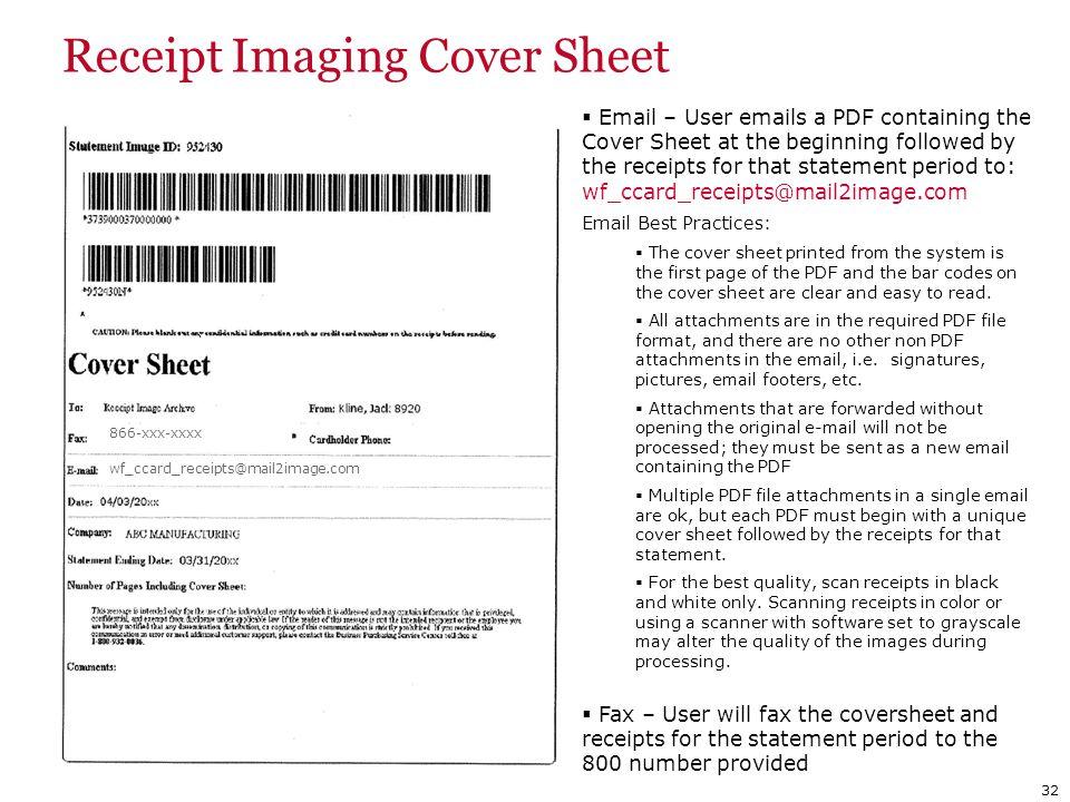 Receipt Imaging Cover Sheet
