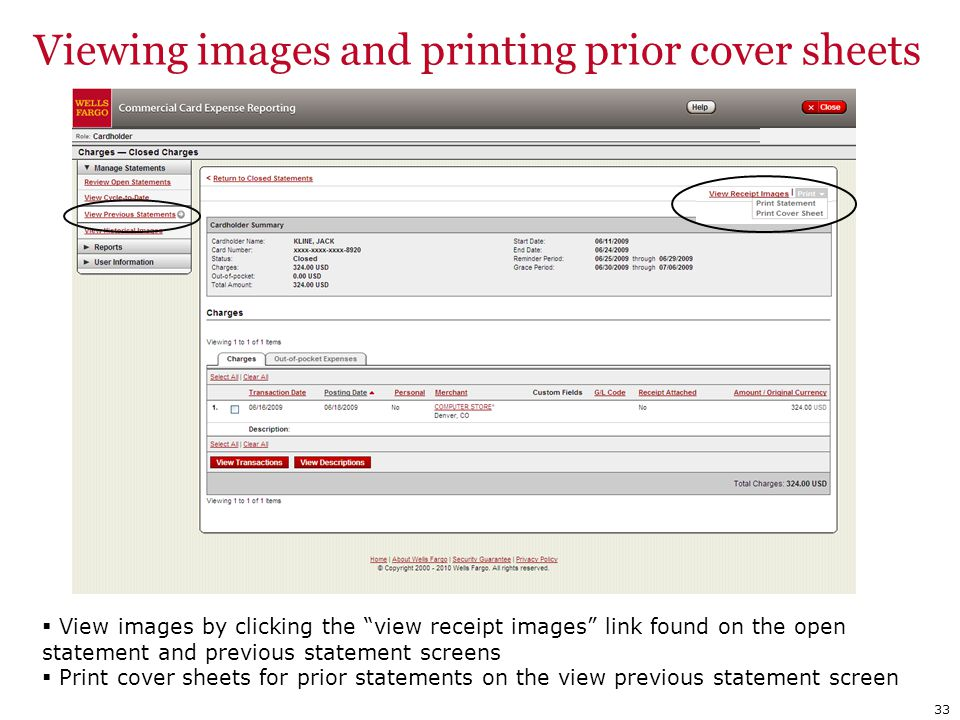 Viewing images and printing prior cover sheets