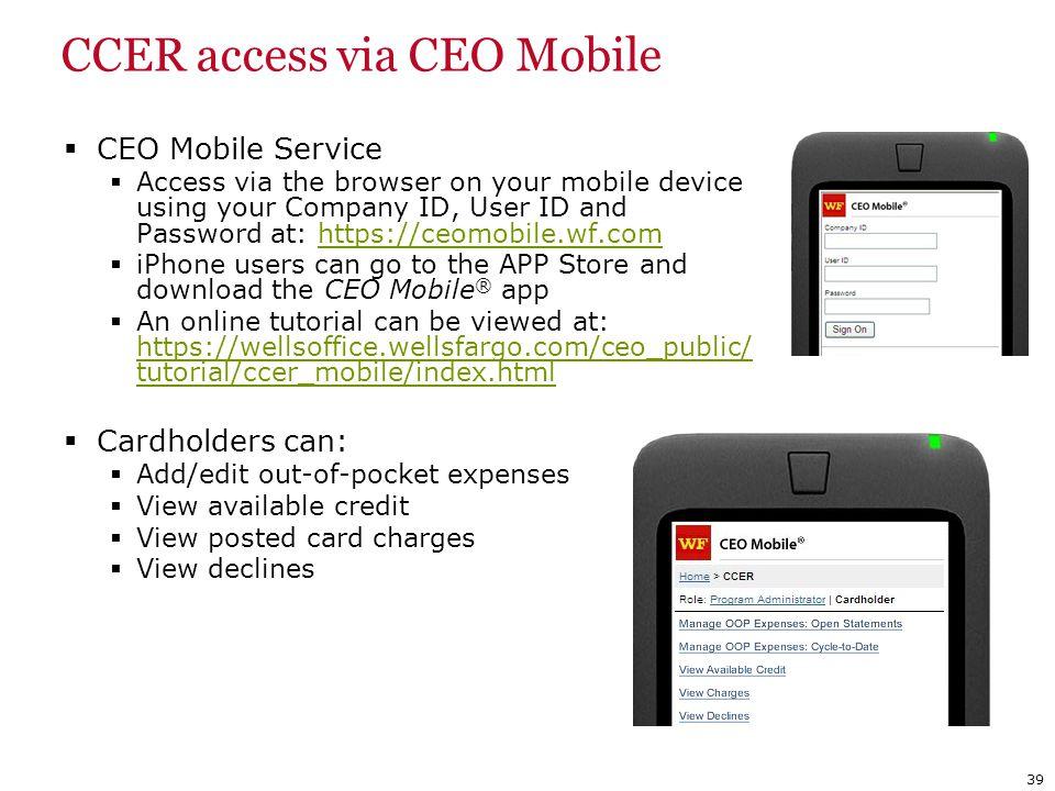 CCER access via CEO Mobile