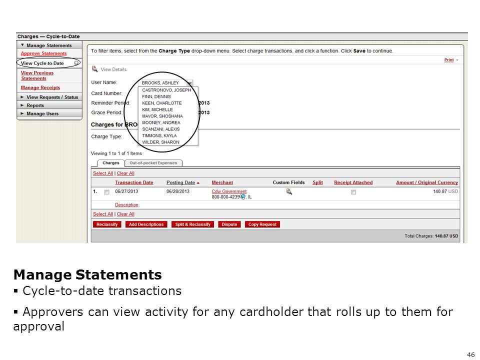 Manage Statements Cycle-to-date transactions
