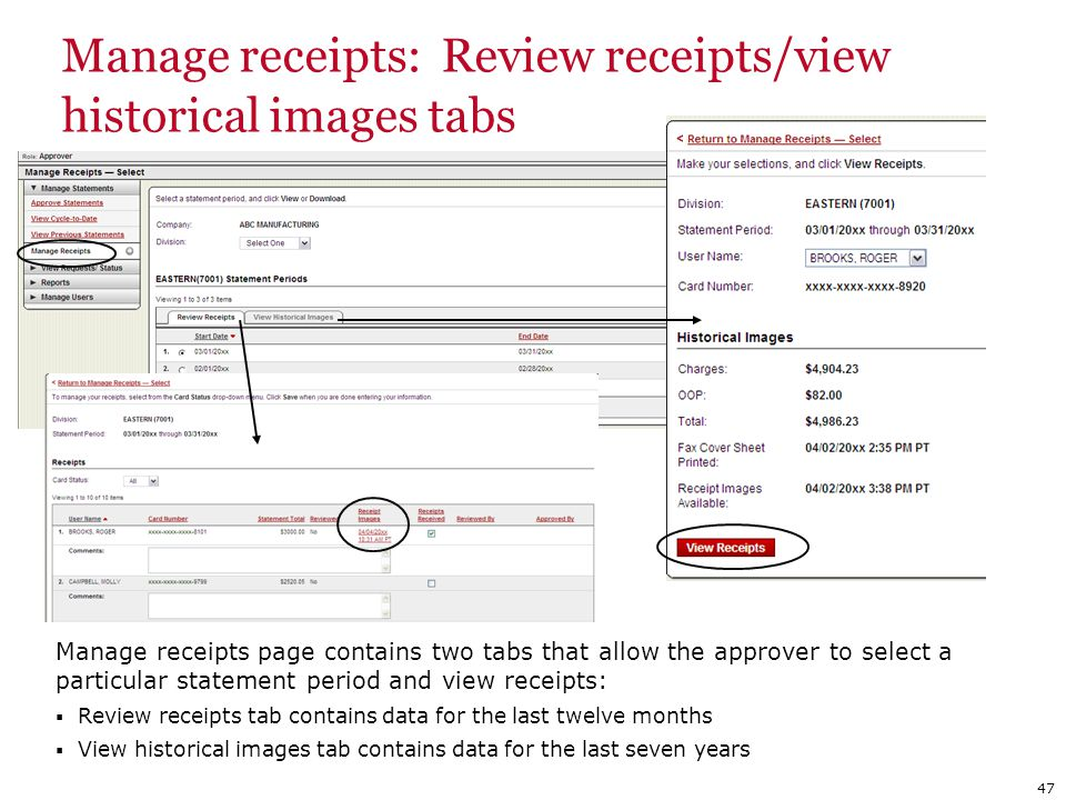 Manage receipts: Review receipts/view historical images tabs