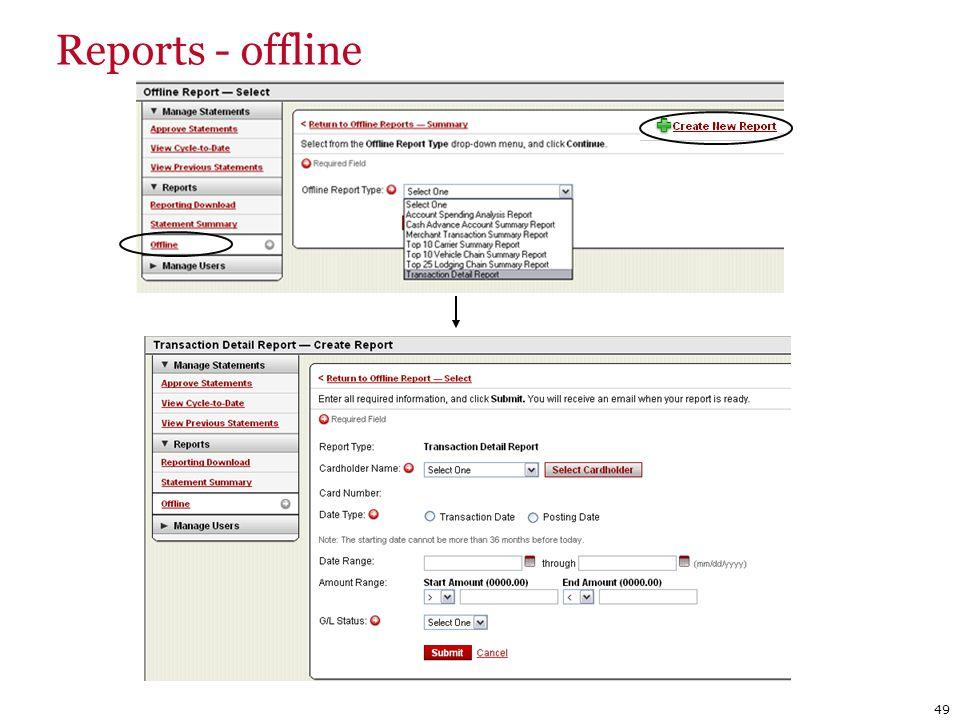 Reports - offline