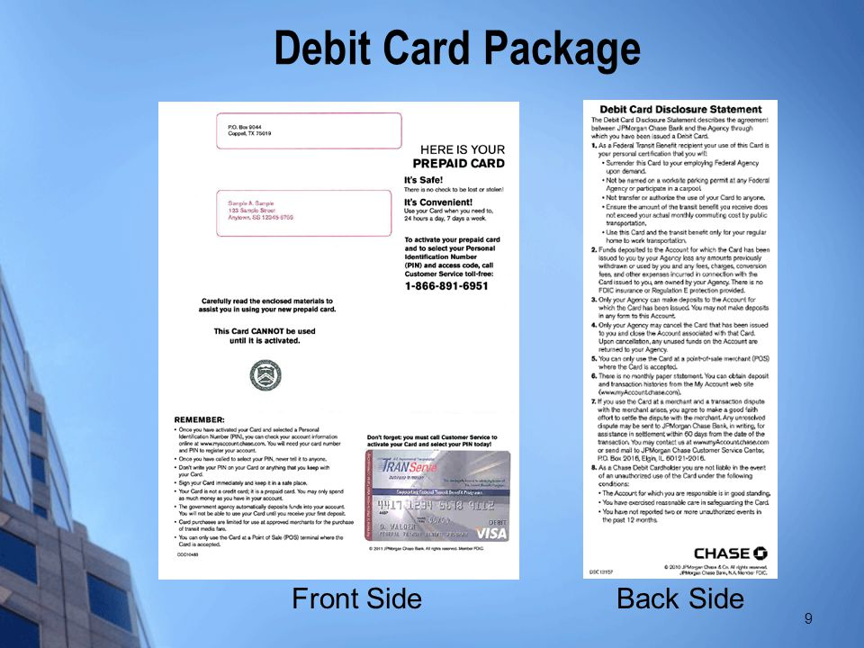 Debit Card Package Front Side Back Side