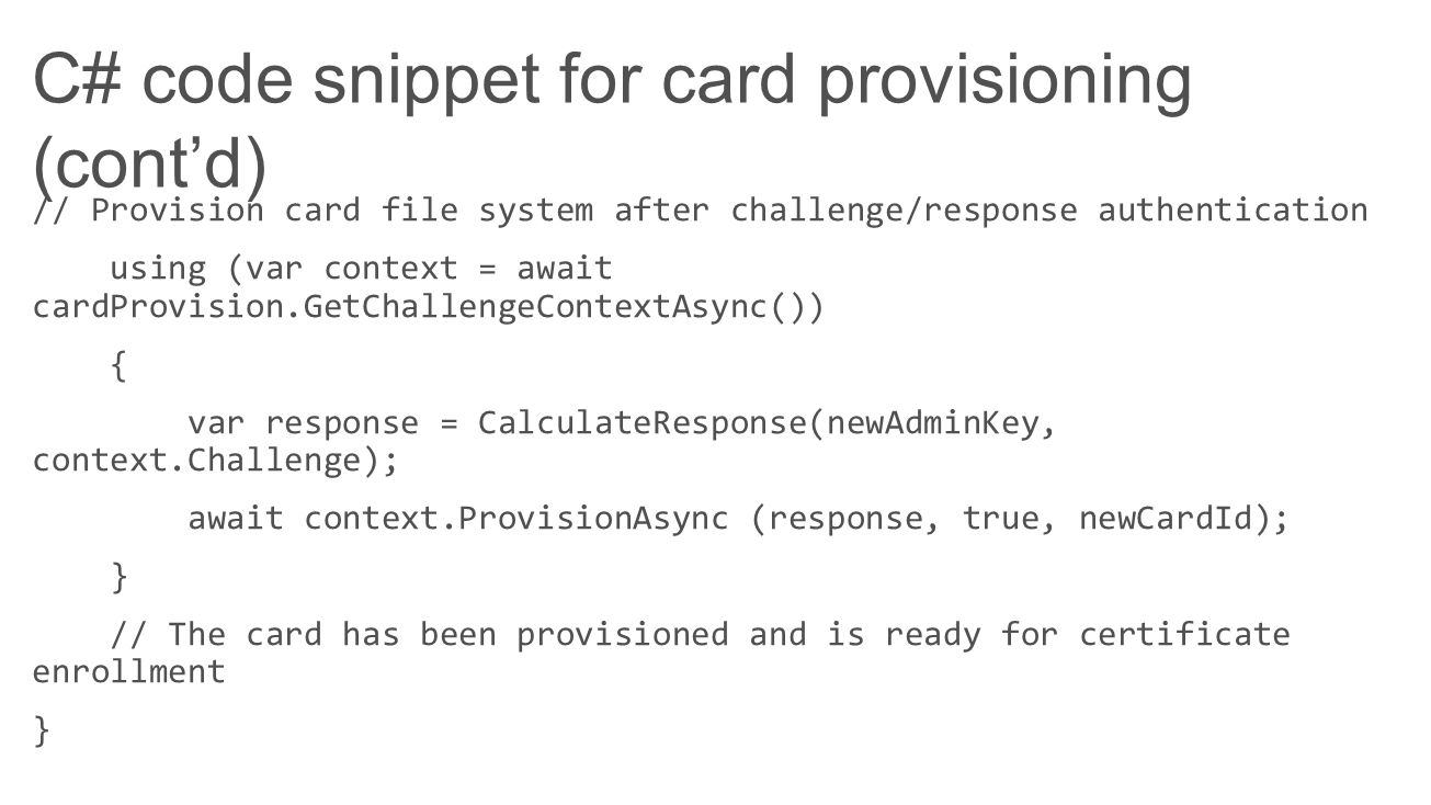 C# code snippet for card provisioning (cont'd)