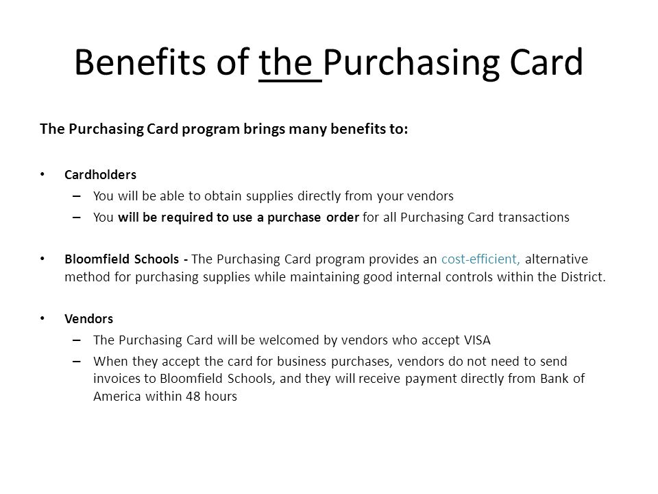 Benefits of the Purchasing Card