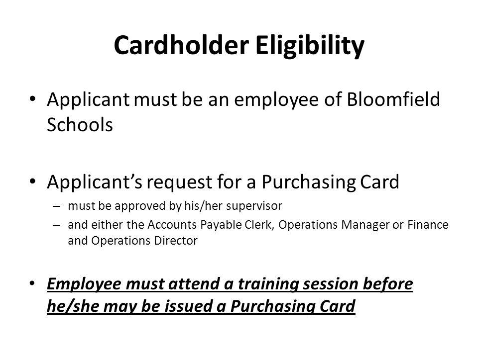 Cardholder Eligibility