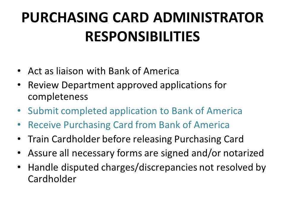 PURCHASING CARD ADMINISTRATOR RESPONSIBILITIES