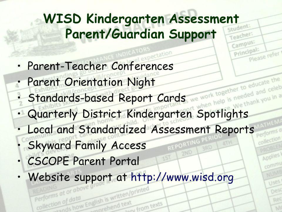 WISD Kindergarten Assessment Parent/Guardian Support