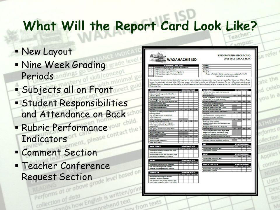 What Will the Report Card Look Like