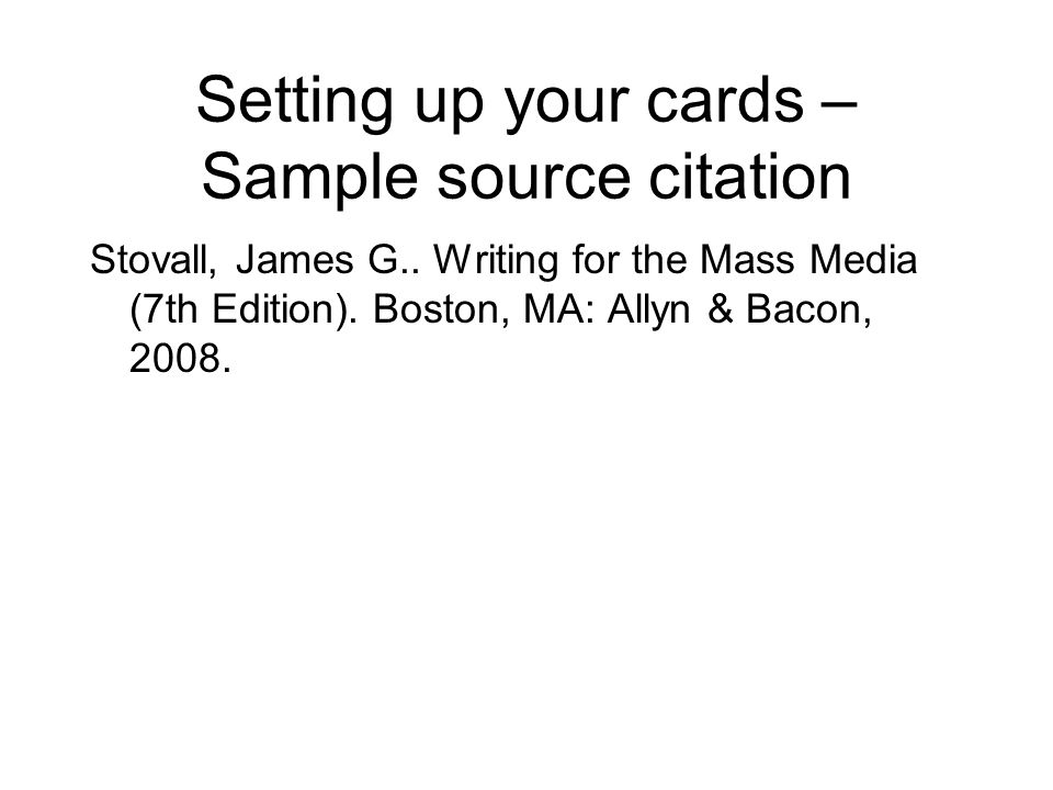 Setting up your cards – Sample source citation