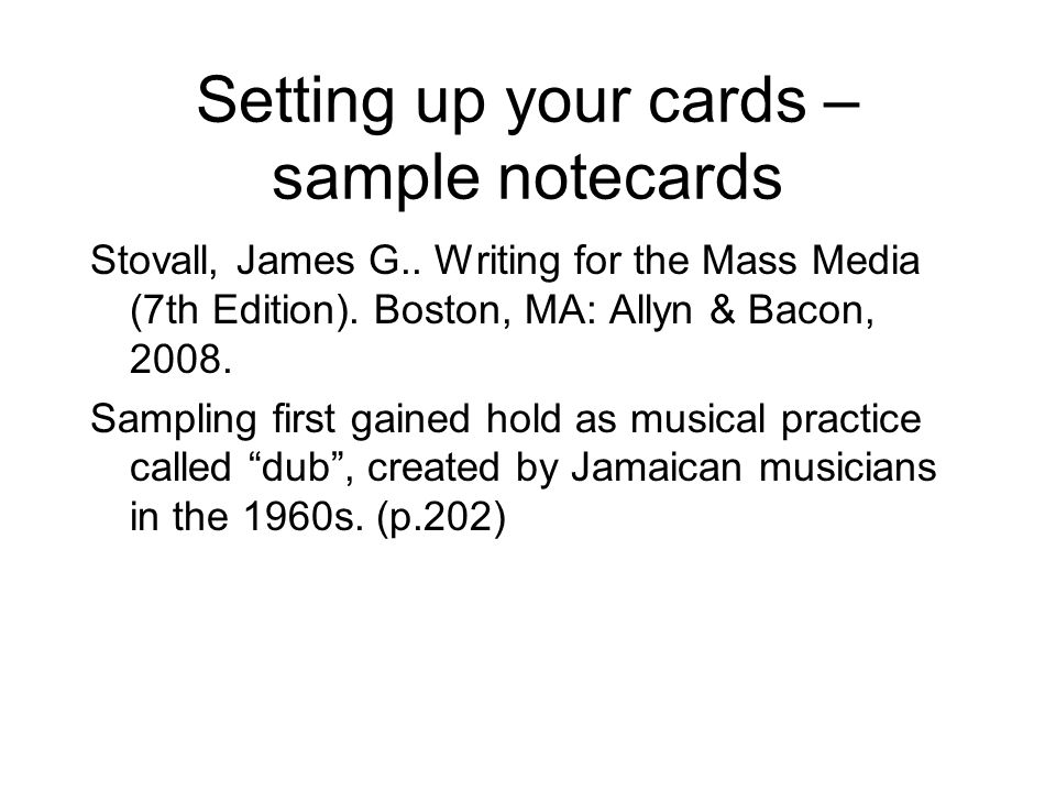 Setting up your cards – sample notecards