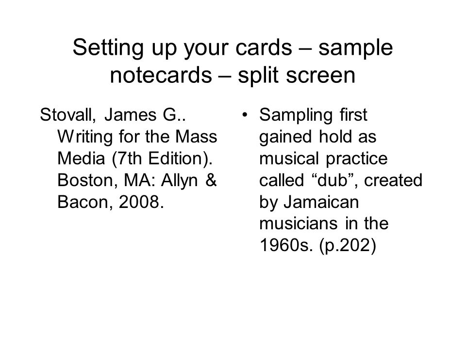 Setting up your cards – sample notecards – split screen