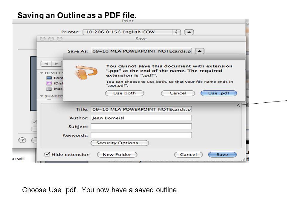 Saving an Outline as a PDF file.