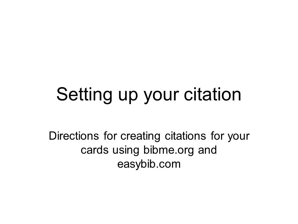 Setting up your citation