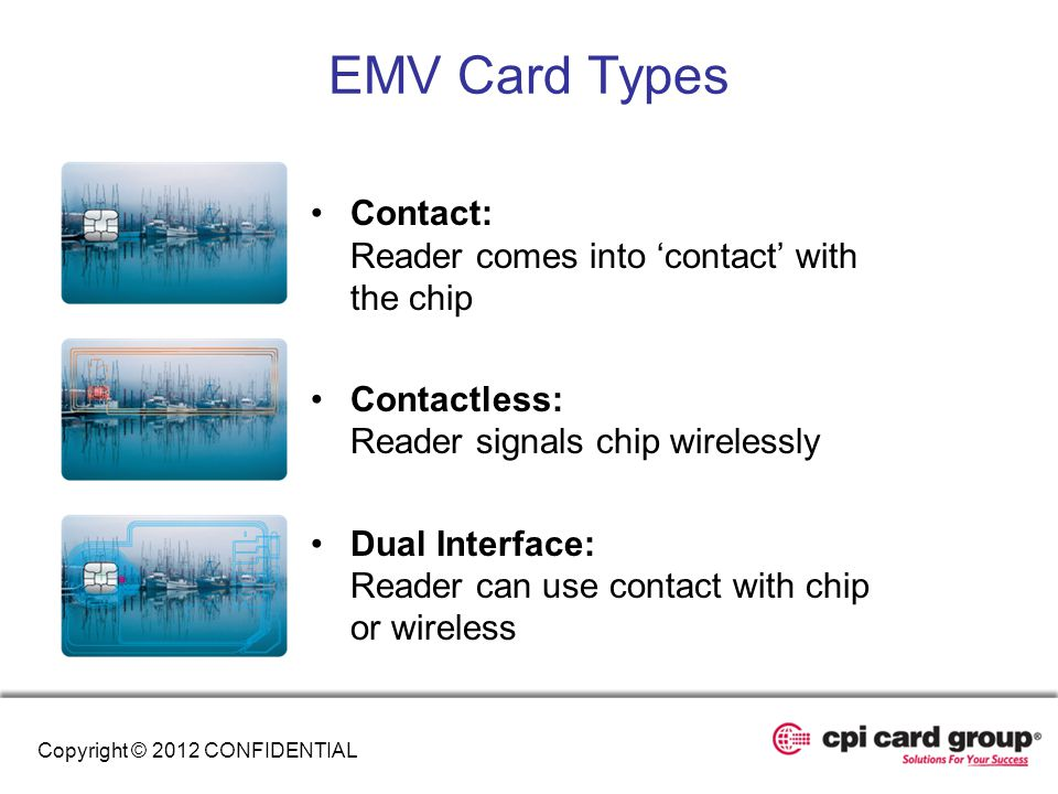 EMV Card Types Contact: Reader comes into 'contact' with the chip