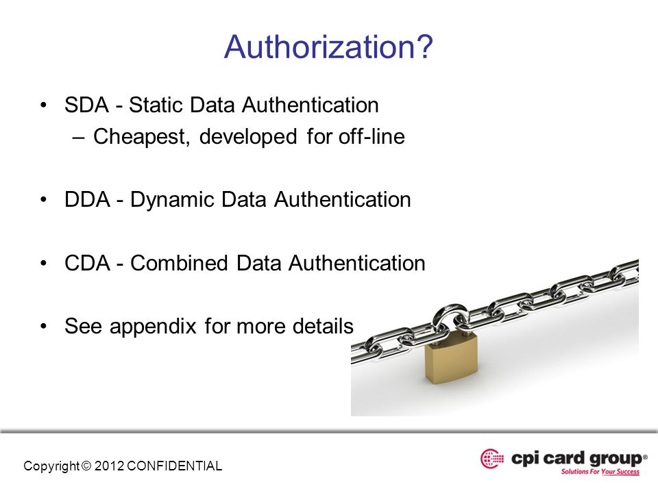 Authorization SDA - Static Data Authentication