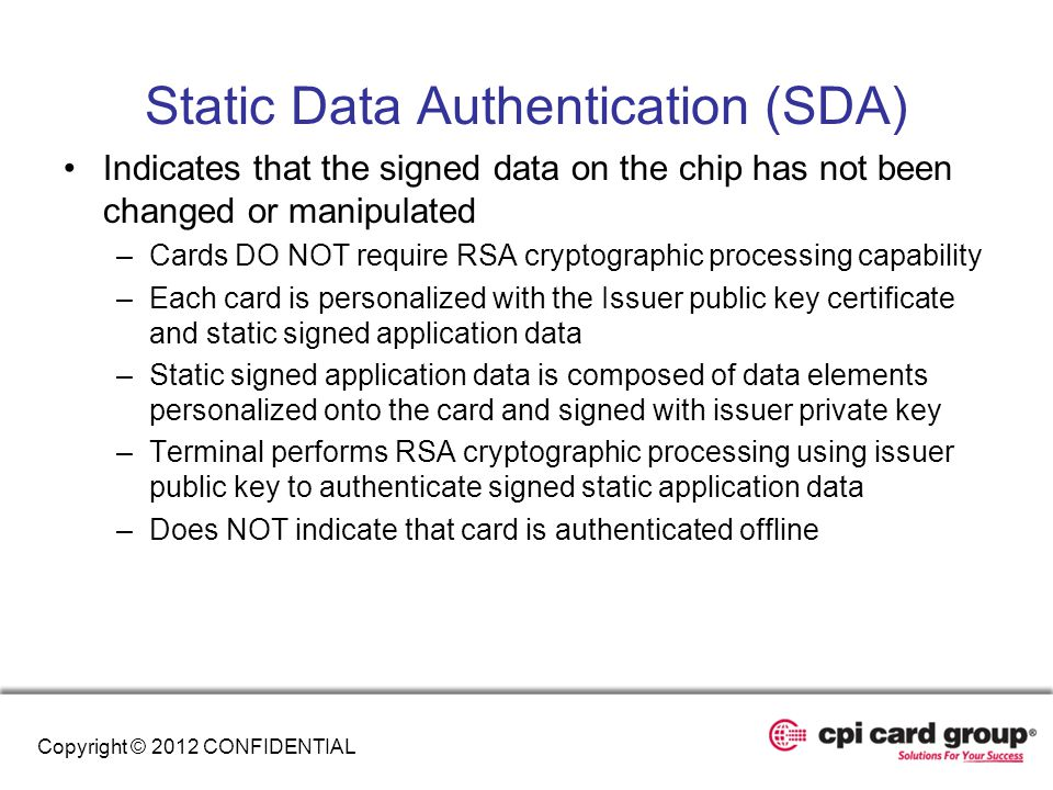 Static Data Authentication (SDA)