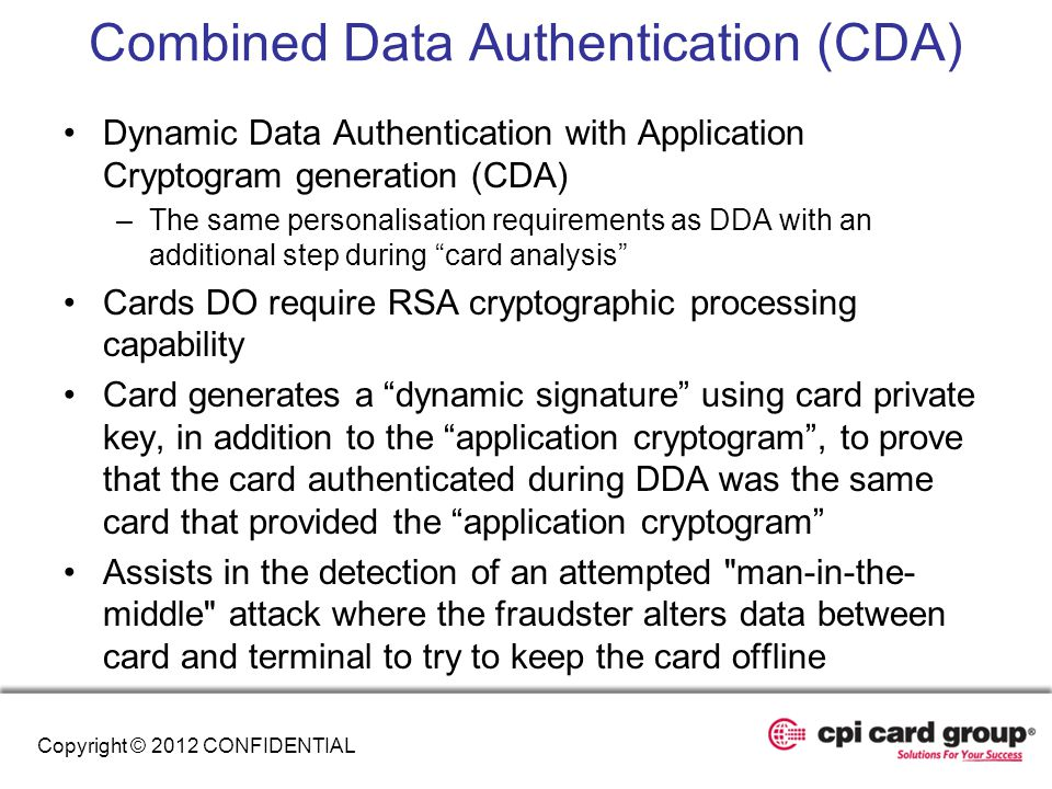 Combined Data Authentication (CDA)