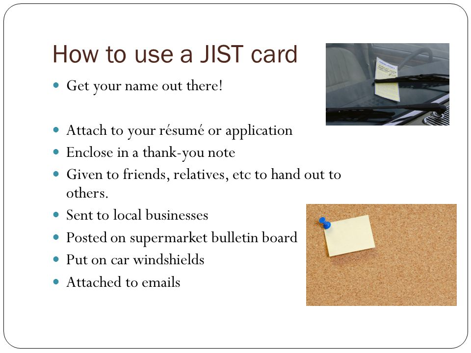 How to use a JIST card Get your name out there!