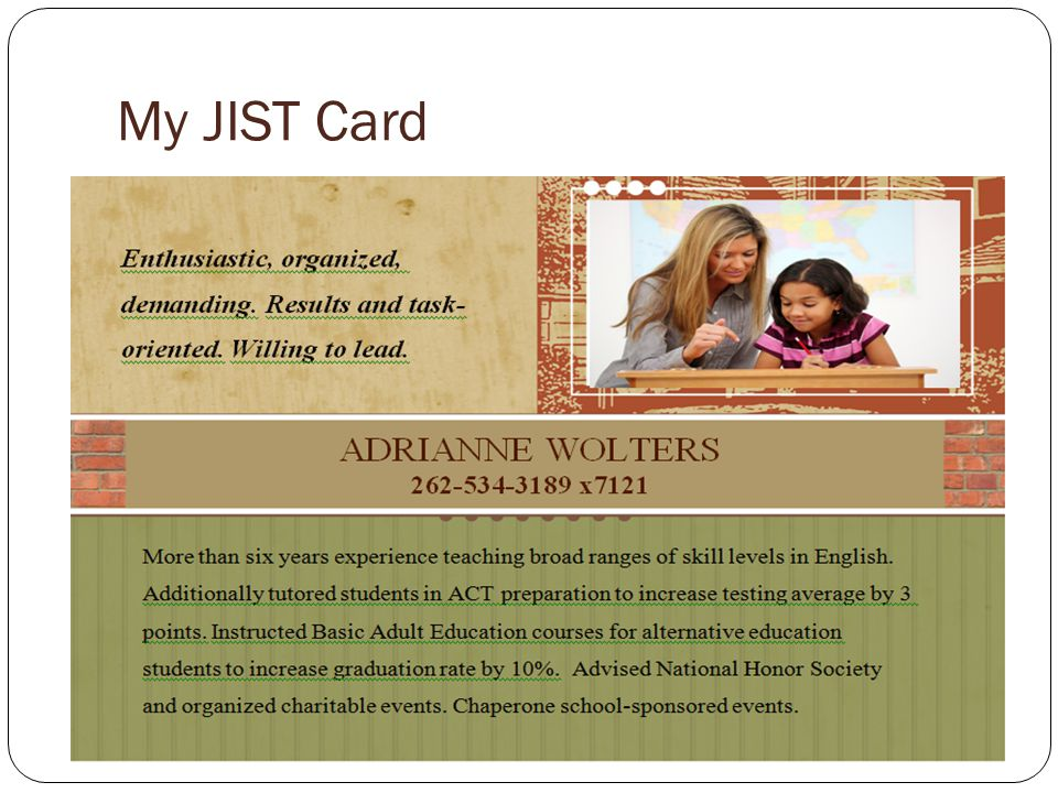 My JIST Card