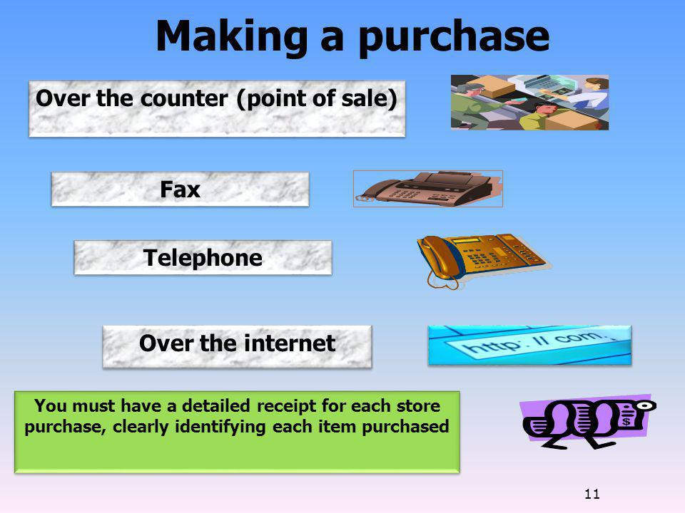 Over the counter (point of sale)