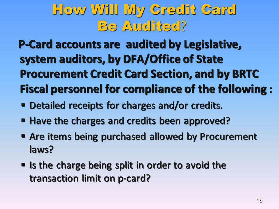 How Will My Credit Card Be Audited