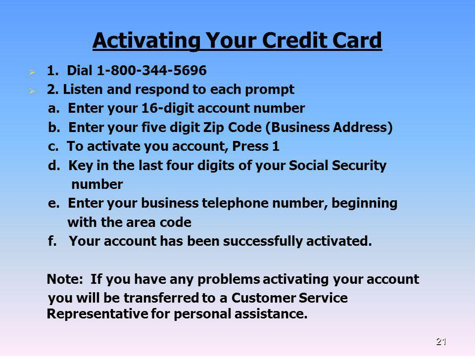 Activating Your Credit Card