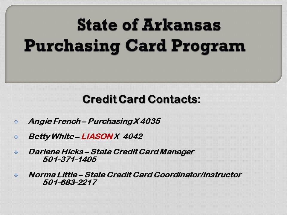 State of Arkansas Purchasing Card Program