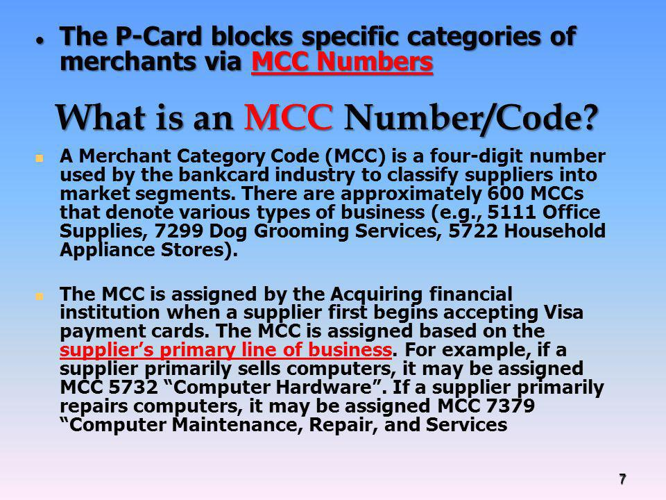 What is an MCC Number/Code