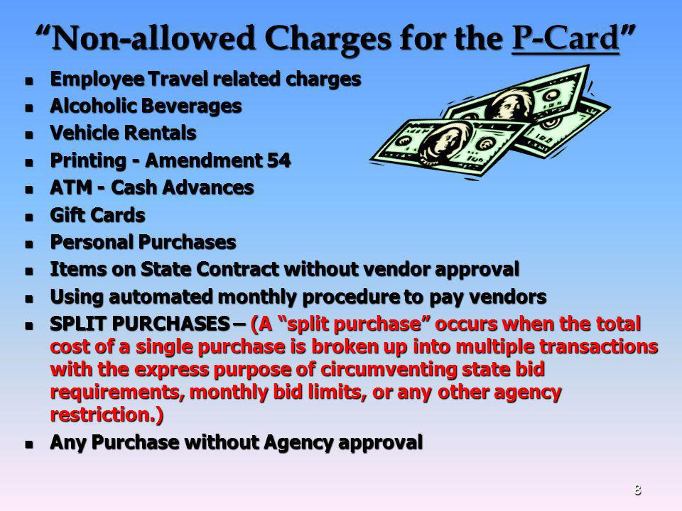 Non-allowed Charges for the P-Card