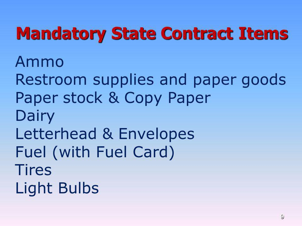 Mandatory State Contract Items
