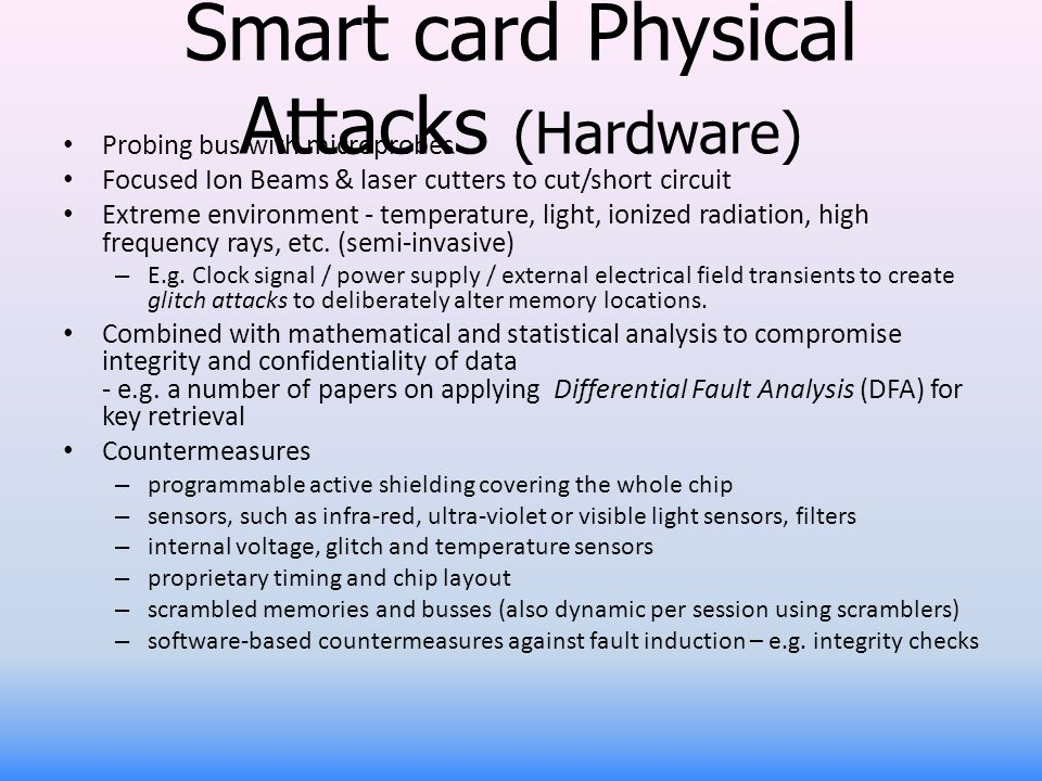 Smart card Physical Attacks (Hardware)