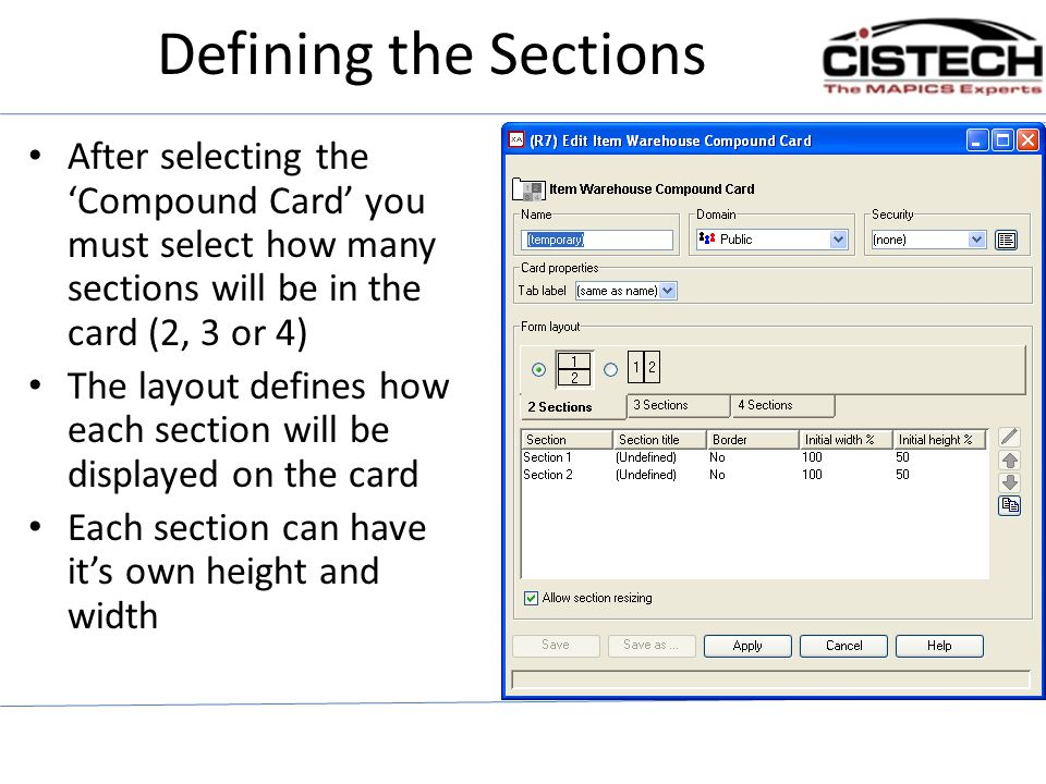 Defining the Sections After selecting the 'Compound Card' you must select how many sections will be in the card (2, 3 or 4)