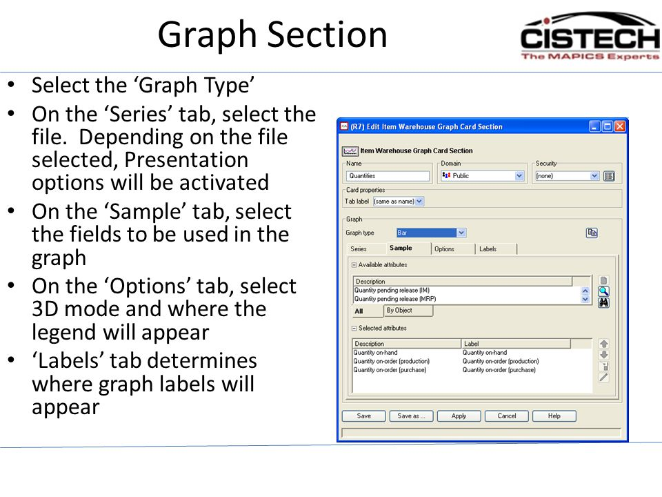 Graph Section Select the 'Graph Type'