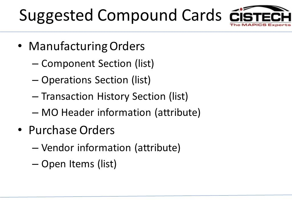 Suggested Compound Cards