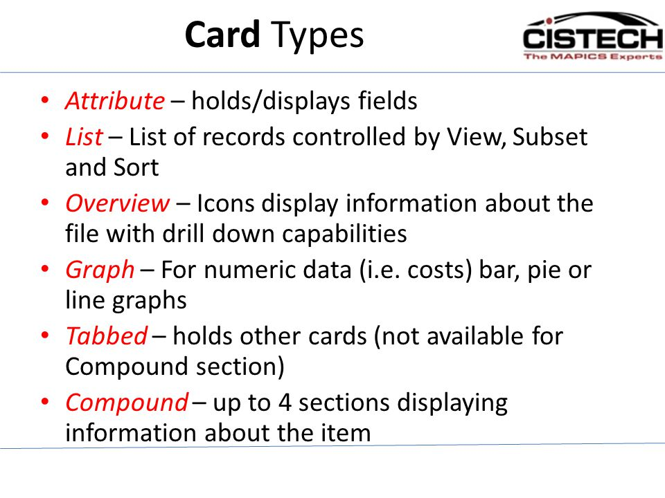 Card Types Attribute – holds/displays fields