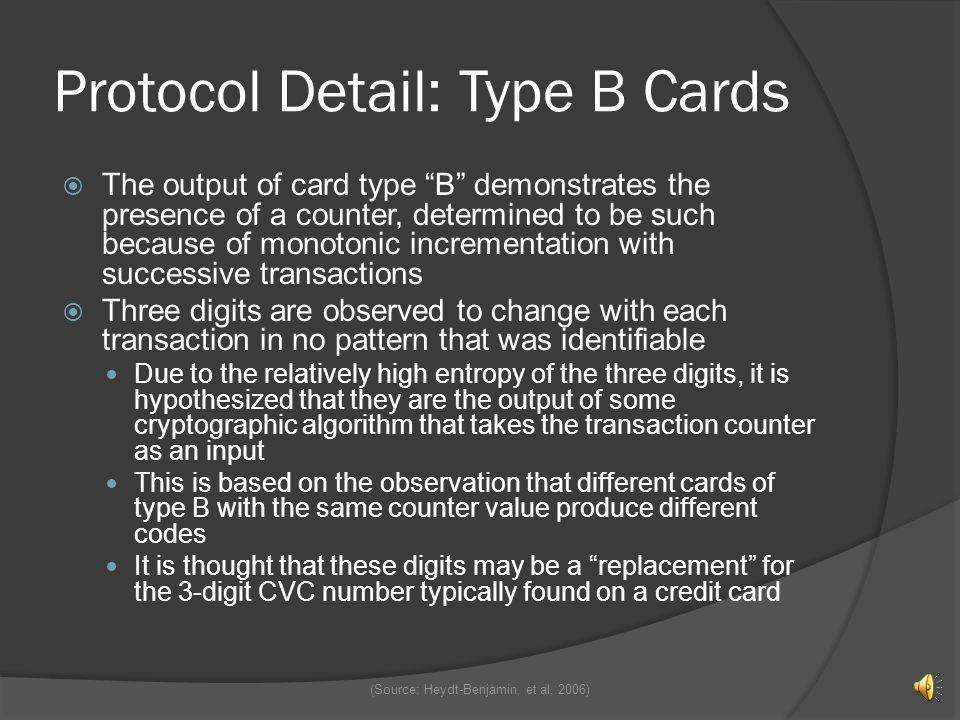 Protocol Detail: Type B Cards