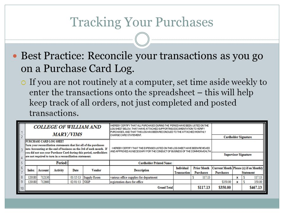 Tracking Your Purchases