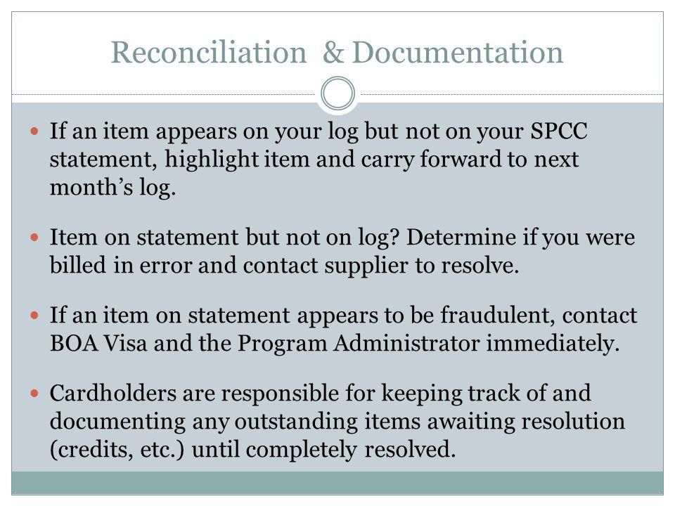 Reconciliation & Documentation