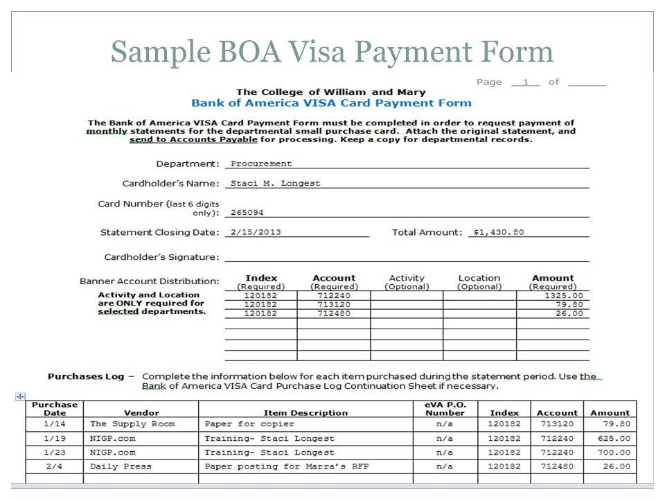 Sample BOA Visa Payment Form