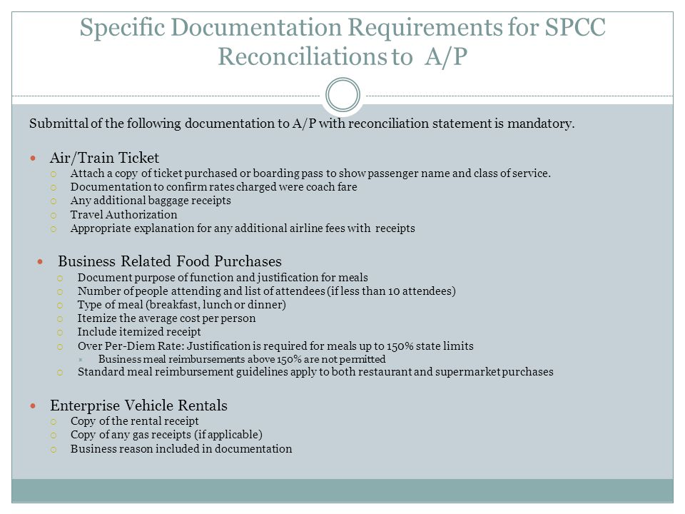 Specific Documentation Requirements for SPCC Reconciliations to A/P