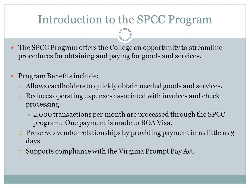 Introduction to the SPCC Program