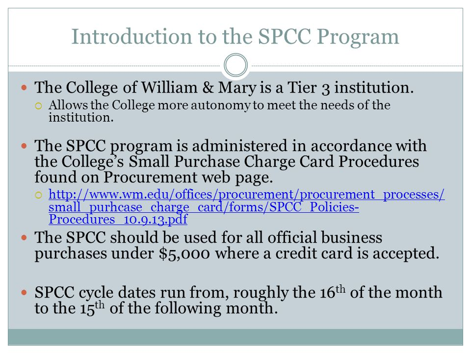 William & Mary Small Purchase Charge Card Program - ppt download