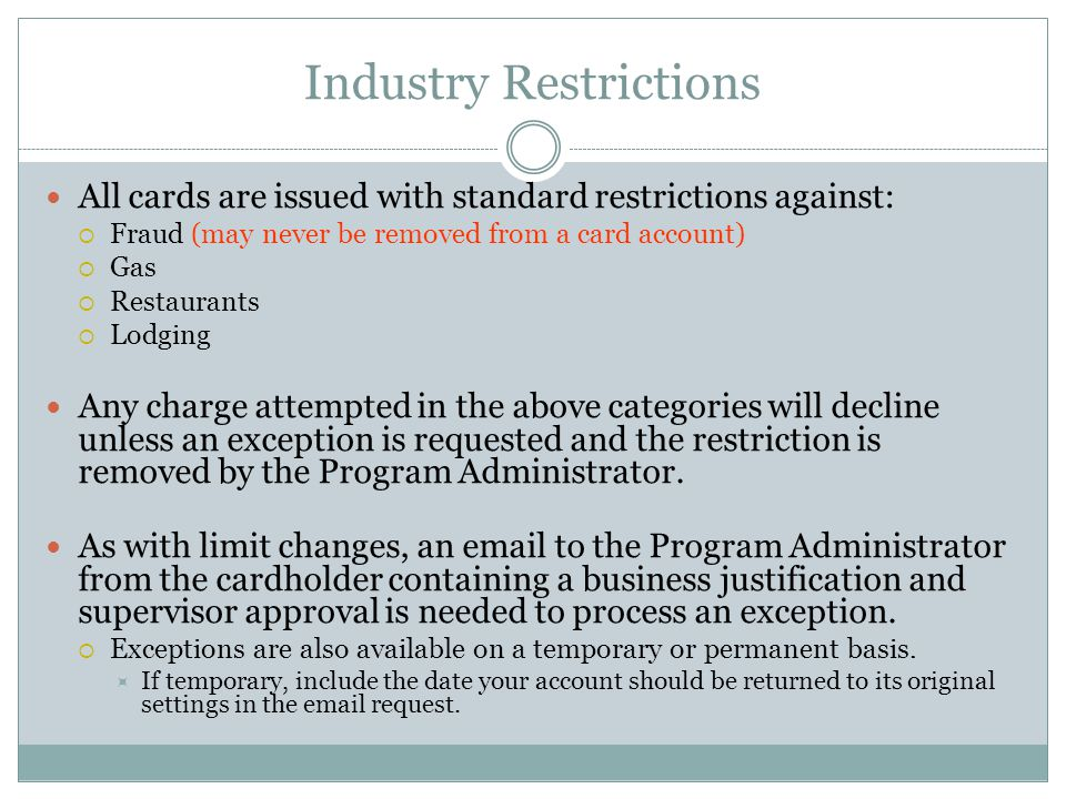 Industry Restrictions