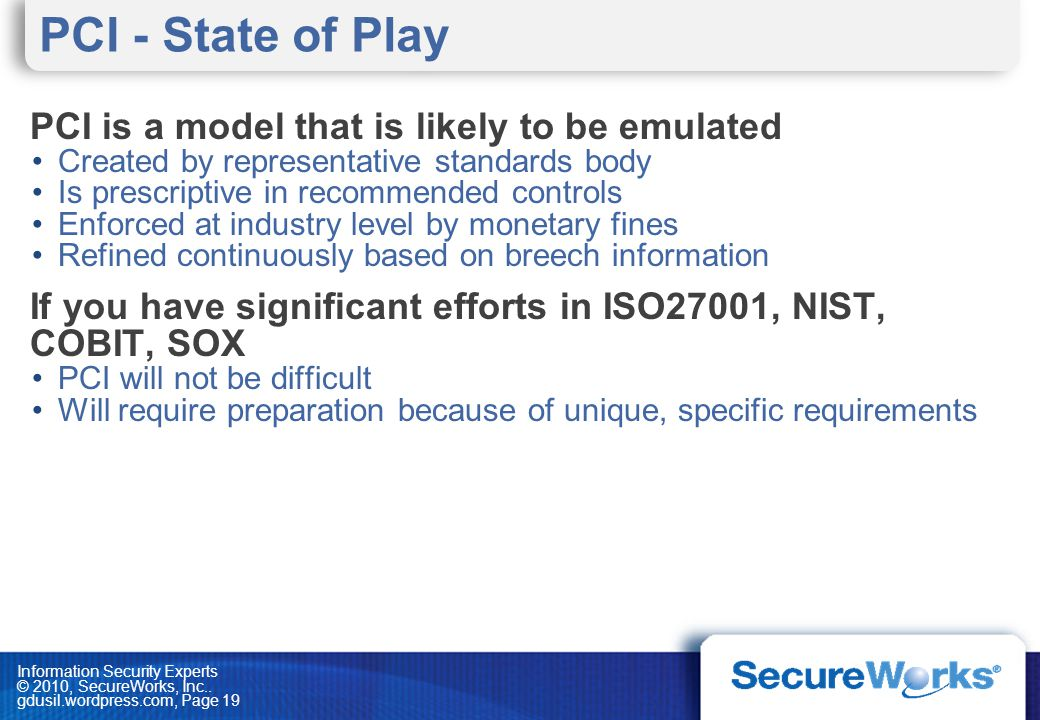 PCI - State of Play PCI is a model that is likely to be emulated