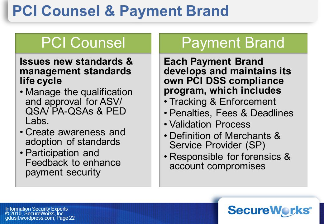 PCI Counsel & Payment Brand